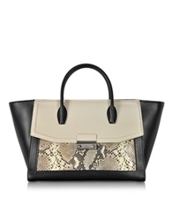 Class Roberto Cavalli Chamaleon Large Color Block And Python Print Satchel Off White