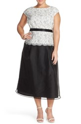 Plus Size Women's Alex Evenings Mock Two Piece Embroidered Lace And Mesh Tea Length Dress