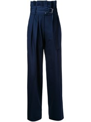 N Duo Belted High Waisted Trousers Blue