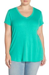 Plus Size Women's Sejour Short Sleeve V Neck Tee Teal Pool