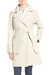 Women's Ellen Tracy Faux Suede Belted Long Wrap Coat Stone