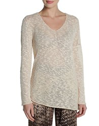 Nic Zoe Knit V Neck Sweater White