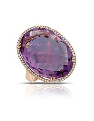 Marco Moore Diamond Amethyst And 14K Rose Gold Ring Purple