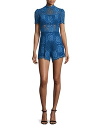 Alexis Heidi Short Sleeve Lace Romper Passionate Blue