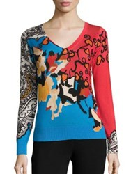 Etro Silk And Cashmere Floral Print Sweater Multi