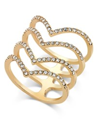 Inc International Concepts Gold Tone Chevron Crystal Stacked Ring Only At Macy's