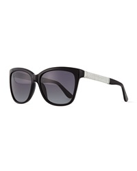 Jimmy Choo Cora Crystal Temple Square Sunglasses Black