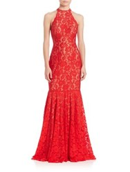 Jovani Sleeveless Halter Lace Gown Red Nude