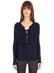 Designers Remix Lace Up Rib Knit Cotton Sweater