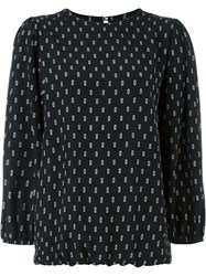 Societe Anonyme Printed Balloon Sleeve Blouse Black