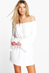 Boohoo Crochet Off Shoulder Bell Sleeve Dress White