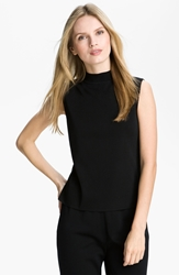 Ming Wang Mock Neck Shell Black