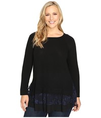 Karen Kane Plus Size Lace Inset Sweater Black Navy Women's Sweater