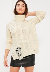 Missguided Cream Distressed Turtle Neck Cable Sweater Ivory