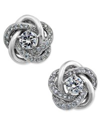 Macy's Cubic Zirconia Love Knot Stud Earrings In Sterling Silver