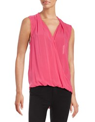 Velvet By Graham And Spencer Sleeveless Wrap Front Blouse Pink
