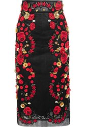 Dolce And Gabbana Embroidered Mesh Midi Skirt Black