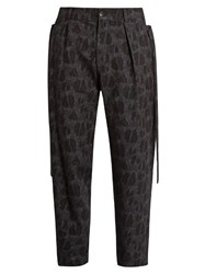 Damir Doma Picasso Wool And Cotton Blend Jacquard Trousers Black Multi