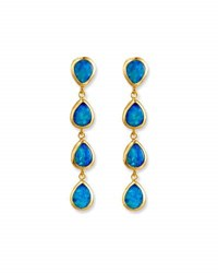 Gurhan Linear Opal Drop Earrings In 24K Gold