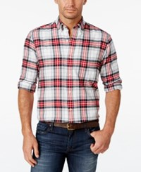 John Ashford Men's Big And Tall Long Sleeve Plaid Shirt Only At Macy's Deep Black