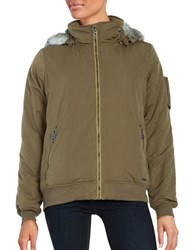 Bench Faux Fur Accented Zip Up Jacket Beech
