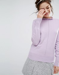 Willow And Paige Shrunken Jumper With Frill Collar Lilac Purple