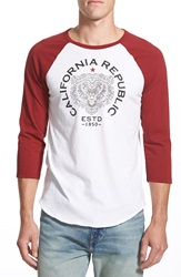 Lucky Brand 'California Republic Bear' Graphic Baseball T Shirt White Red