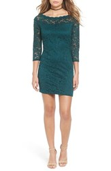 Secret Charm Women's Bateau Neck Lace Body Con Dress Hunter Green