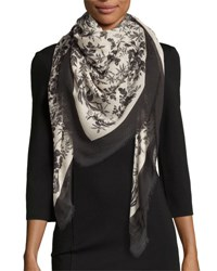Gucci Erbary Floral Voile Shawl Black Ivory