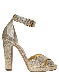 Alexander Mcqueen 120Mm Crackled Metallic Leather Sandals
