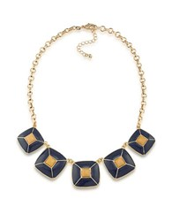 1St And Gorgeous Enamel Pyramid Pendant Statement Necklace In Old Gold Dark Blue