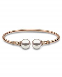 Yoko London 18K Rose Gold And Pearl Bangle With Diamonds