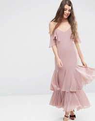 Asos Premium Maxi Dress With Frill Hem And Cold Shoulder Pink Multi
