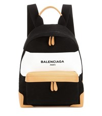 Balenciaga Navy Leather Trimmed Canvas Backpack Black