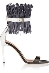 Reed Krakoff Feather Embellished Patent Leather Sandals Black