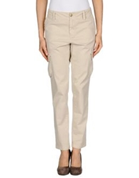 Peacock Blue Casual Pants Beige