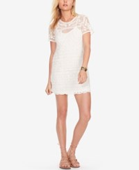 Denim And Supply Ralph Lauren Embroidered Tulle Shift Dress Antique White