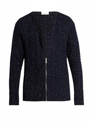 Raey Donegal Wool Zip Through Cardigan Navy