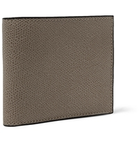 Valextra Pebbled Leather Wallet Gray