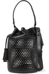 Loeffler Randall Industry Perforated Leather Shoulder Bag Black
