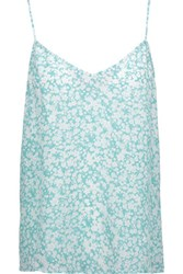Equipment Layla Floral Print Washed Silk Camisole Mint