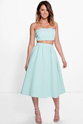 Boohoo Jo Scallop Bandeau And Midi Skirt Co Ord Mint