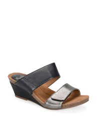 Sofft Angie Leather Wedge Sandals Black