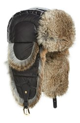 Tasha Tarno Women's Nylon And Genuine Rabbit Fur Trapper Hat