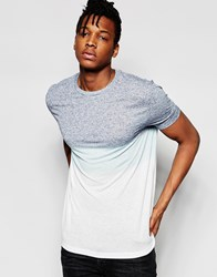 Asos Longline T Shirt With Two Colour Dip Dye And Scoop Hem Blue White