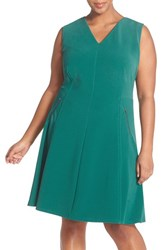 Plus Size Women's Halogen Zip Pocket V Neck A Line Dress Teal Pacific