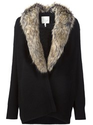 Joie Faux Fur Collar Cardigan Black