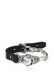 Emanuele Bicocchi Skull Silver Chain And Leather Bracelet