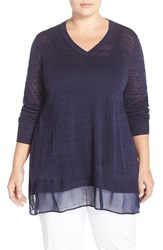 Plus Size Women's Sejour 'Sicily' Chiffon Hem Slub Knit V Neck Sweater