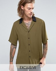 Reclaimed Vintage Revere Shirt With Contrast Collar In Reg Fit Khaki Green